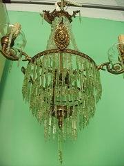 Старинная хрустальная люстра с бронзой