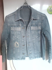 Джинсовые куртка и рубашка,  р. 140
