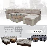 Мягкий раскладной Угловой диван Квадро 41 пуфик вика