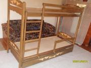 Надежная Двухъярусная кровать с дерева ольхи.
