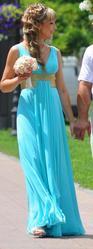 Свадебное/выпускное платье бирюзового цвета в греческом стиле