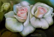 Белые розы - картина маслом