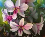 Цветы орхидеи - картина маслом