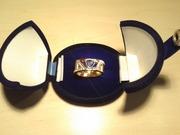 Продам мужское кольцо с крупным сапфиром и бриллиантами