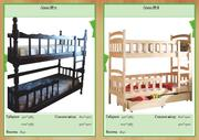 Деревянные двухъярусные кровати из массива ольхи