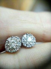 Серьги-пусеты с бриллиантами 0. 50 карата