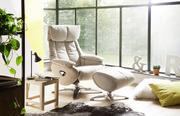 Релакс м'які шкіряні крісла для відпочинку мають в комплекті підставку